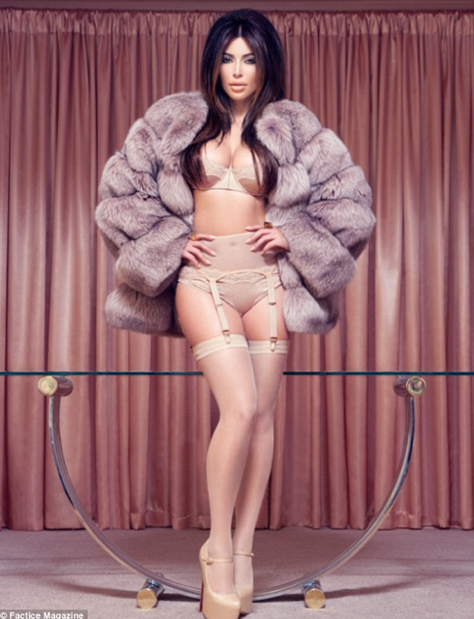 Kim Kardashian, Fur Coat Lingerie, Factice Cover December 2012
