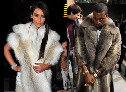 Kim Kardashian and Kanye West Wearing Fur