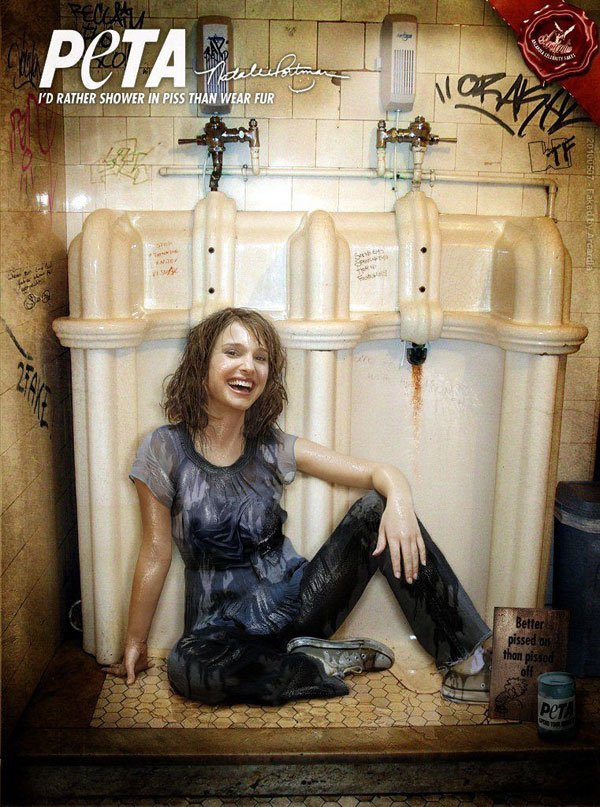 Natalie Portman 'Shower in Piss' PETA Ad
