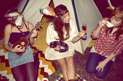 Teepees, ukuleles, and feather headdresses are traditional ceremonial garb of hipster Bacchanals of Cultural Appropriation.